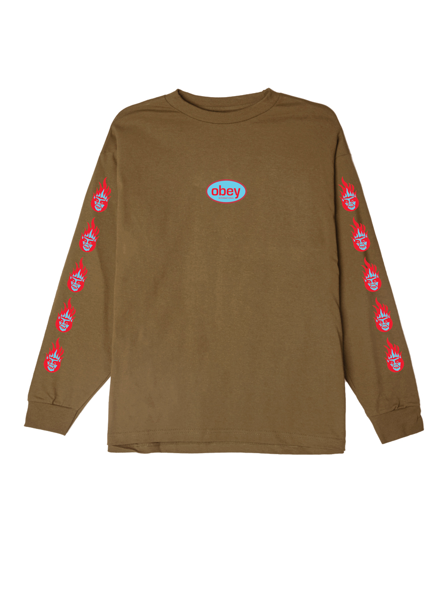 30563722 OBEY Creeper Flame Basic Long Sleeve T-Shirt - Obey Clothing UK