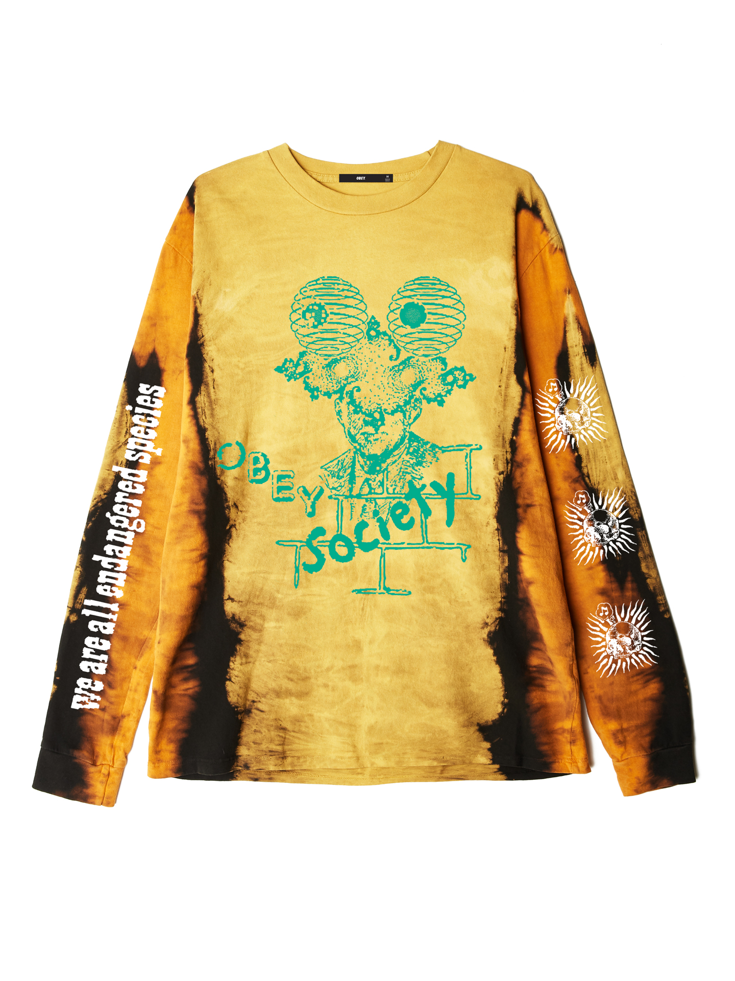 394f9602a725 OBEY Society Vertical Tie Dye Long Sleeve T-Shirt - Obey Clothing UK