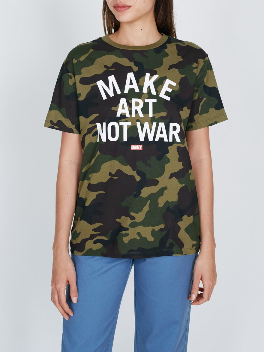 Make Art Not War Camo Crew T-Shirt